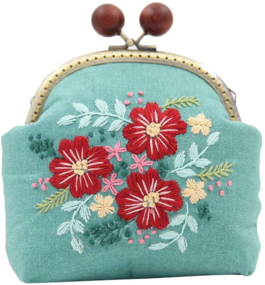 Easy Embroidery DIY Bags Purse Wallet Handbag, Cross Stitch Kit for Beginner Needlework Sewing Craft Friend Gifts Bags Blue