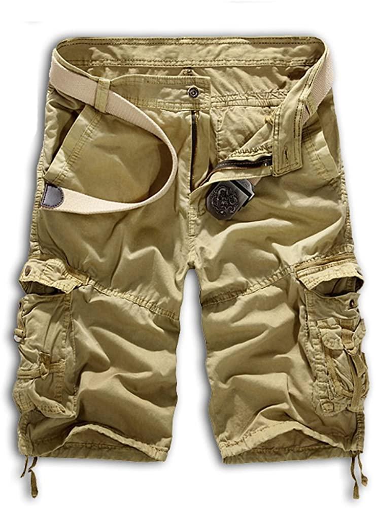 Tonwhar Men's Summer 100% Cotton Cargo Shorts (30, Khaki)