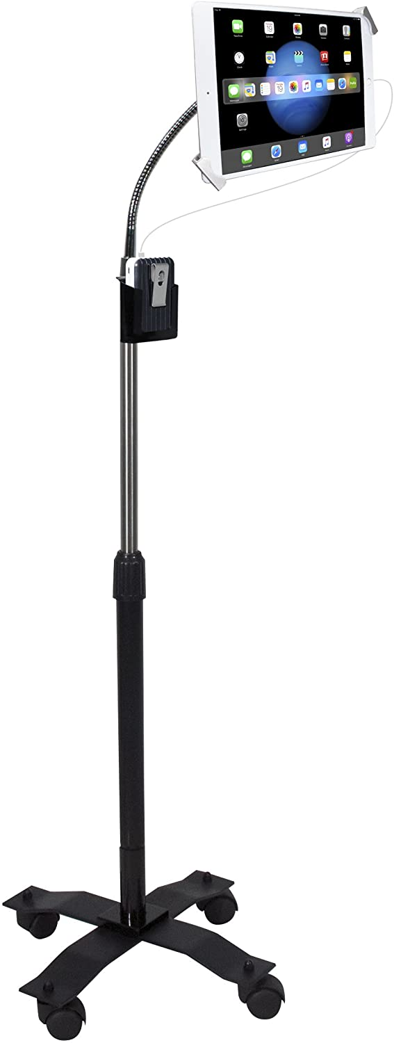 """CTA Digital: Compact Security Height-Adjustable Rotating Tablet Stand with Gooseneck, Locking Wheels for 7-14"""" Tablets/iPad 10.2-Inch (7th Gen.), iPad Pro 12.9 (Gen. 3), iPad Air 3 & More, Black"""