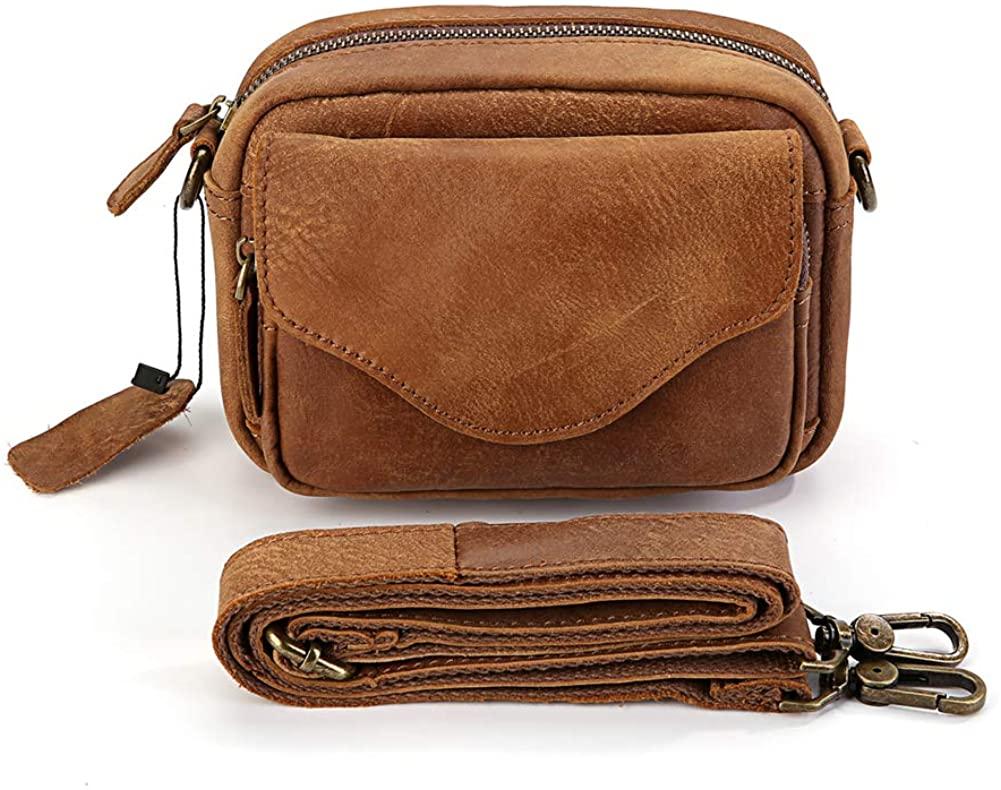 Genuine Leather Fanny Pack Waist Bag Messenger Bum Bag for Men Women