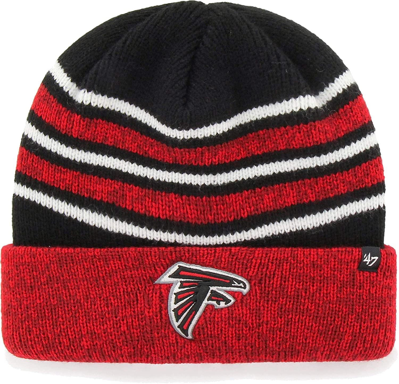 '47 Brand Rotation Stripe Fashion Cuff Beanie Hat - NFL Premium Cuffed Winter Knit Toque Cap