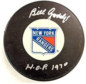 Bill Gadsby Autographed New York Rangers Puck w/