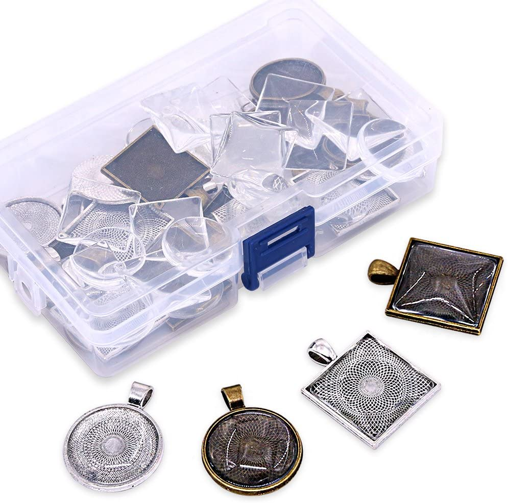 Glarks 48-Pieces Round and Square Pendant Trays with Glass Cabochon Dome Tiles Clear Cameo for Crafting DIY Jewelry Making, 24 Sets