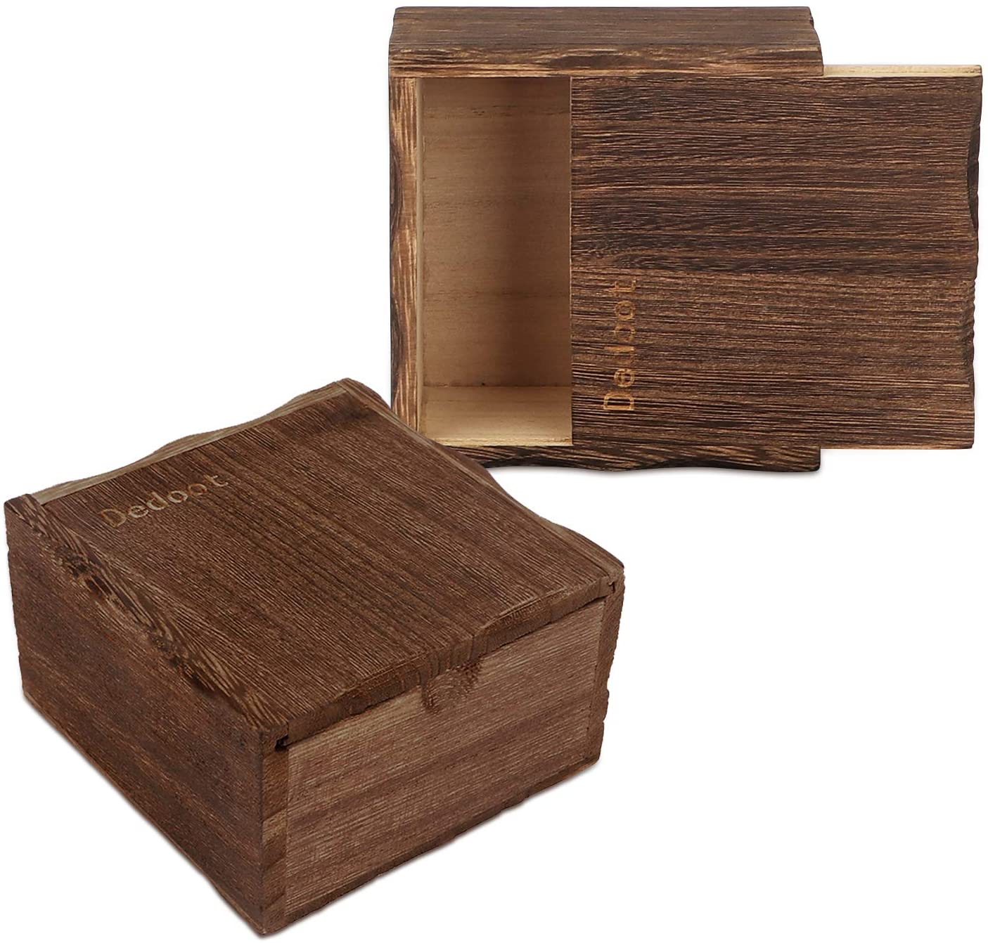Wooden Box, Dedoot Pack of 2 Small Wooden Box Slide Top Decorative Box 4x4x2.4 Vintage Wooden Storage Box for Crafting Gift Jewelry Box