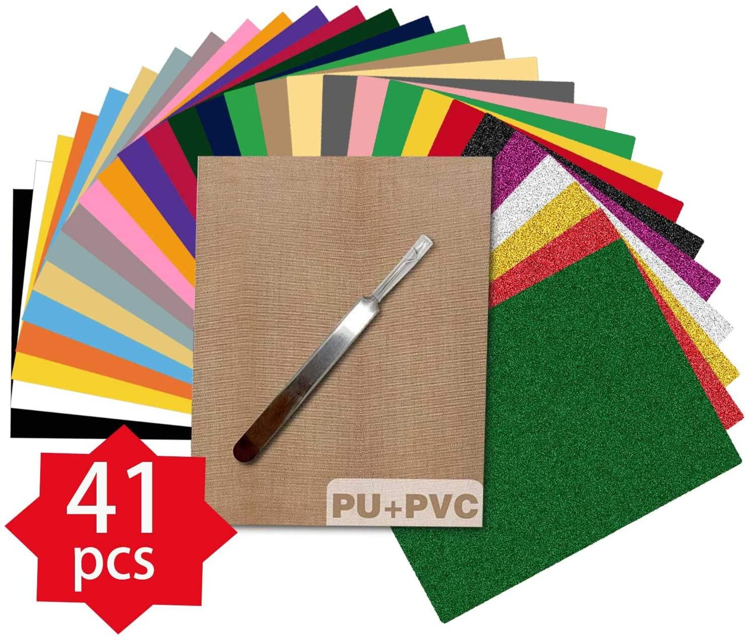HTV Heat Transfer Vinyl Bundle, 33Pack Assorted Colors 12x10 Sheets+ 6 Glitter Sheet Iron on Vinyl for DIY T-Shirts for Cricut & Heat Press Machine