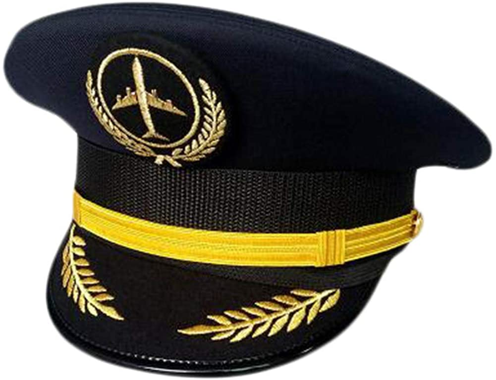 George Jimmy Aircraft Captain Cap Uniform Aviation Cap Railway Hat Costume Accessory-A20