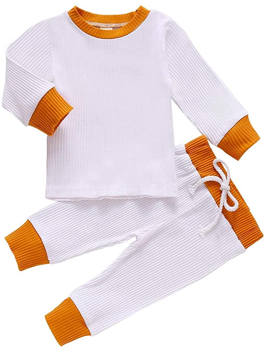Newborn Baby Boys Girls 2Pcs Ribbed Knitted Long Sleeve Pullover Sleepwear Tops Long Drawstring Pants Outfits Set