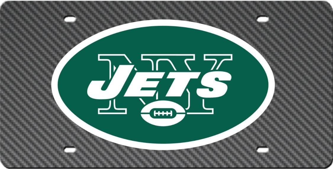 New York Jets CARBON FIBER DESIGN Deluxe Laser Cut Acrylic Inlaid Mirrored License Plate Tag Football