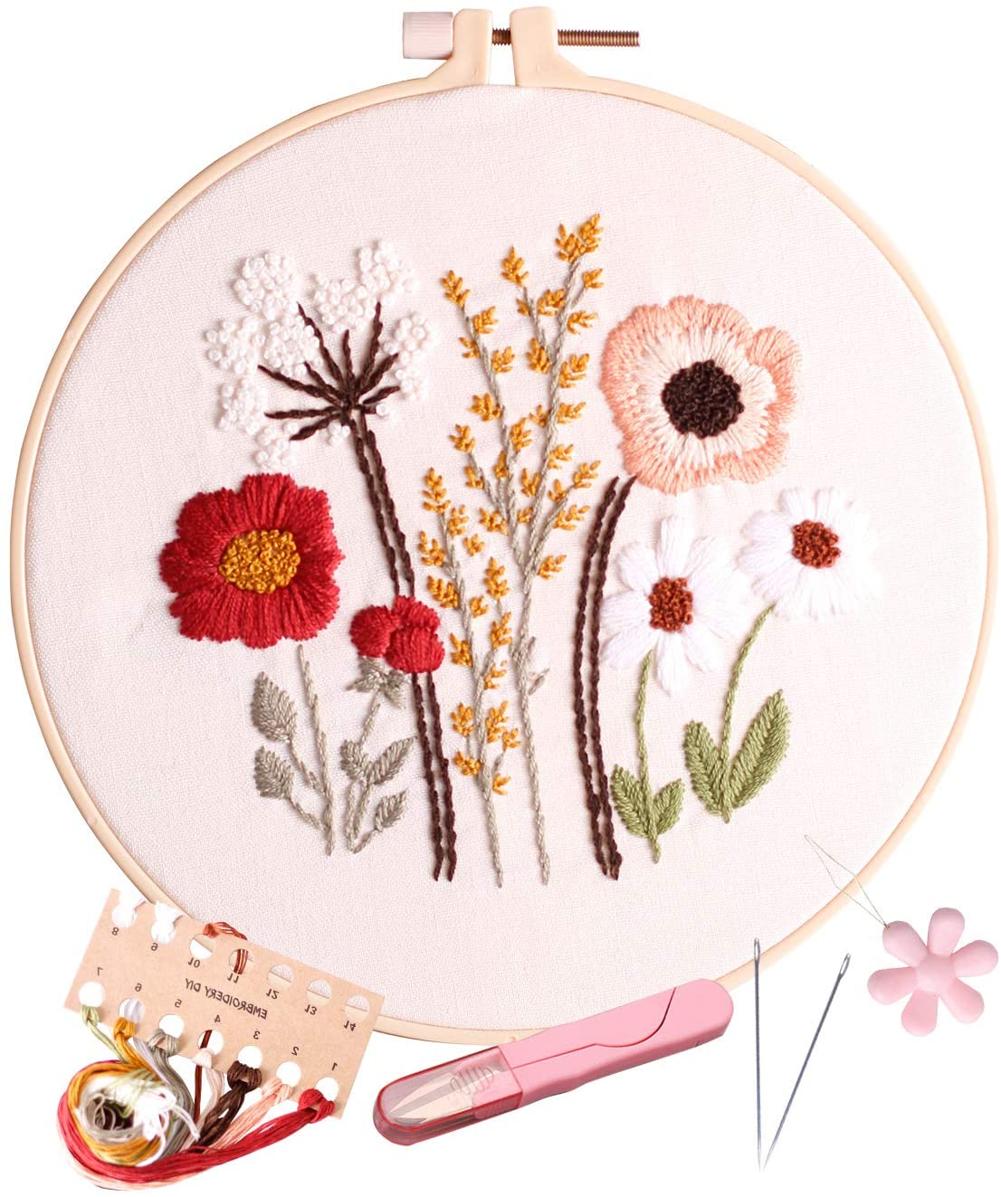 Embroidery Kits for Beginners, Fanryn Stamped Embroidery Kit, Including Embroidery Cloth with Pattern, Bamboo Hoop, Instructions, Color Threads, Needles (Kit-02)