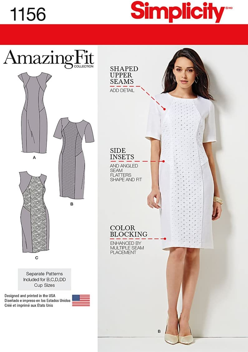 Simplicity Pattern 1156 Women's Amazing Fit Collection Dress with Variations Sizes: BB(20W-28W)