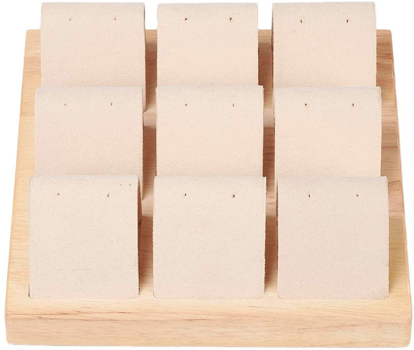 CHGCRAFT Wood Earring Displays 9 Compartments Square PeachPuff Wood Earring Displays with Faux Suede for Crafts Display, 15x15x1.8cm