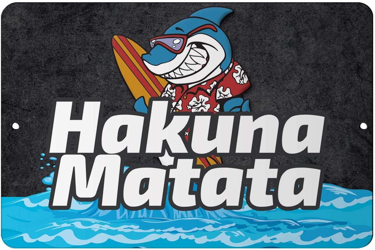 Makoroni - Hakuna Matata Surf Surfing Beach 8x12 inc Aluminum Decorative Wall Street Sign