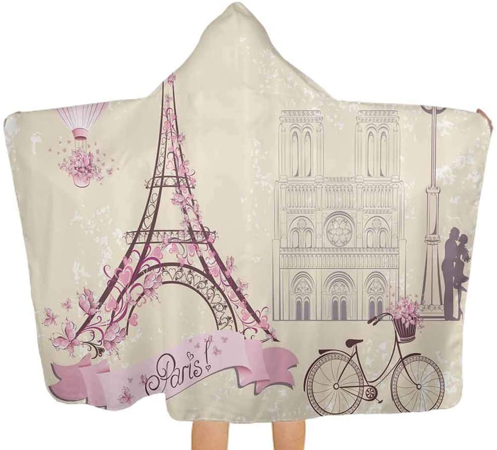 ThinkingPower Hooded Bath Towels Floral Paris Symbol Eiffel Premium Cotton Absorbent Bathrobe for Baby, Toddlers, or Kids, 51.5x31.8 Inch