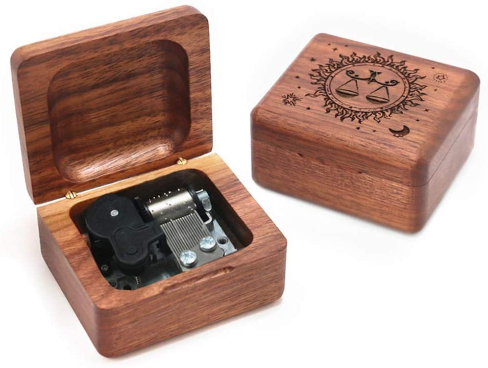 Youtang Libra Music Box Walnut Wood Musical Box Wind Up Gold Mechanism Gift Box for Christmas,Birthday,Valentine's Day
