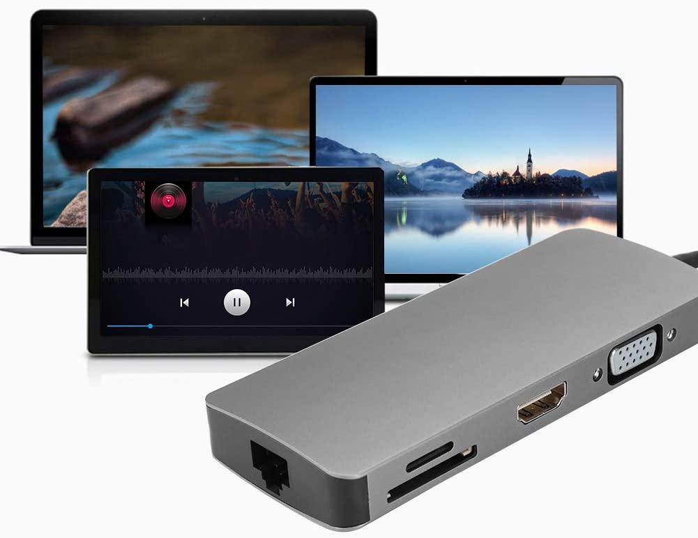 Qioni Durable Type-c Docking Station Converter, Multi-Function USB HDMI VGA Docking Station, Aluminum Alloy Data Transmission for Laptop Notebook with Type-c