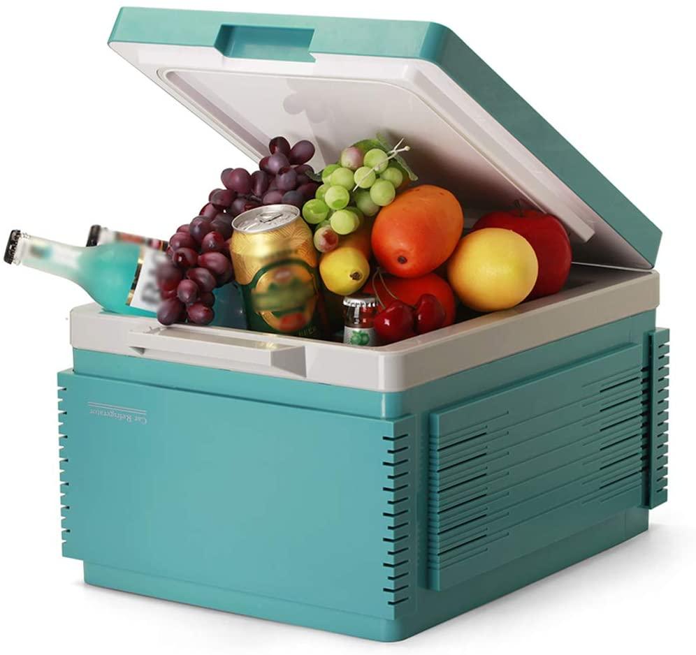 WLNKJ Portable Car Refrigerator, Car Dual-Use Refrigeration Camping Cooler, Driving Temperature Control Thermostat Compressor Refrigerator (12V) 12L,Green
