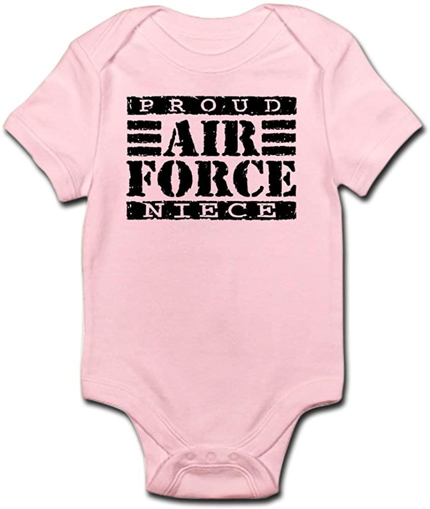 CafePress Proud Air Force Niece Infant Bodysuit Cute Infant Bodysuit Baby Romper Petal Pink