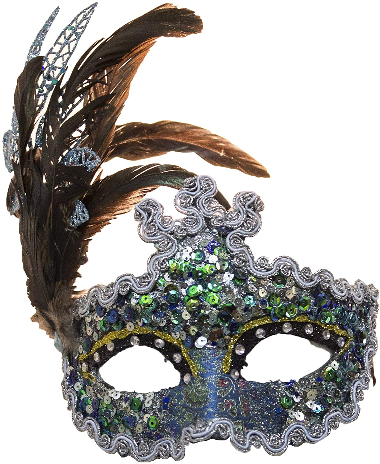 Jacobson Hat Company Women's Sequin Carnival Mask with Feathers 1, Blue, Adjustable
