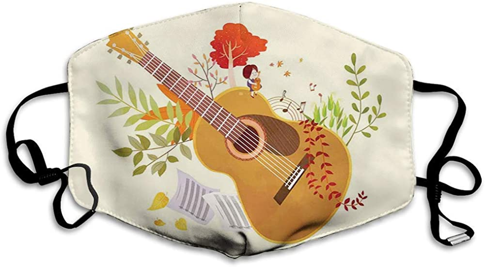 Anti-Dust Mouth Face Cover Printed Mask,Spring Guitar Harvest Nature Growth Kids Inspiration Fall Tree Branch Pattern