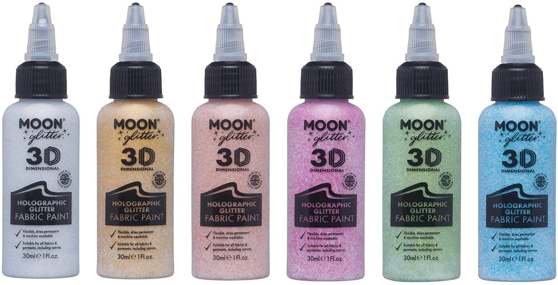 Moon Glitter - Holographic Glitter Fabric Paint - 1.01fl oz - Set of 6