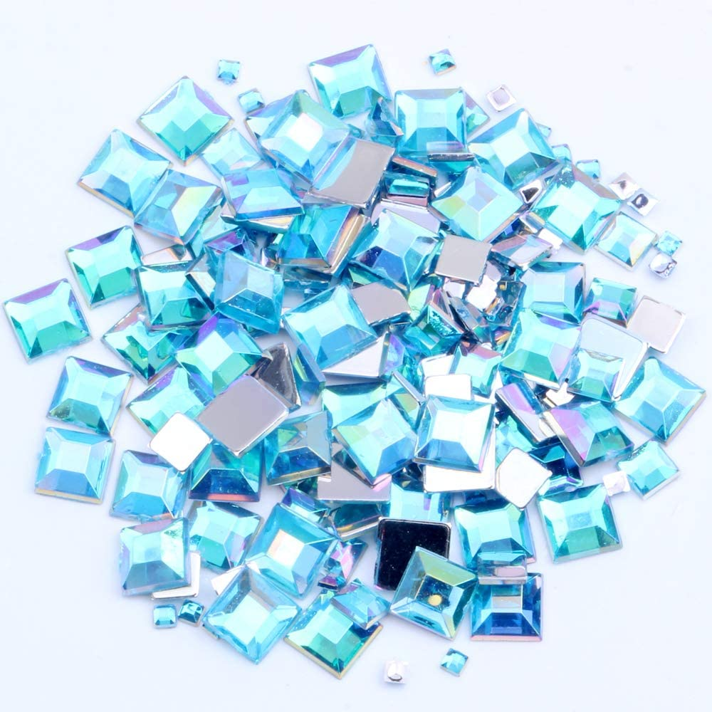 Nizi Jewelry Square Nail Rhinestones Flatback Gems 2/4/6MM and Mixed Size Aquamarine AB Color Geometry Crystal Strass for Nail Clothes Decoration (6MM 3G About 55PCS)