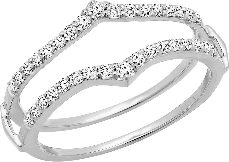 Dazzlingrock Collection 0.45 Carat (ctw) Round Diamond Ladies Wedding Enhancer Guard Double Band 1/2 CT, 18K Gold