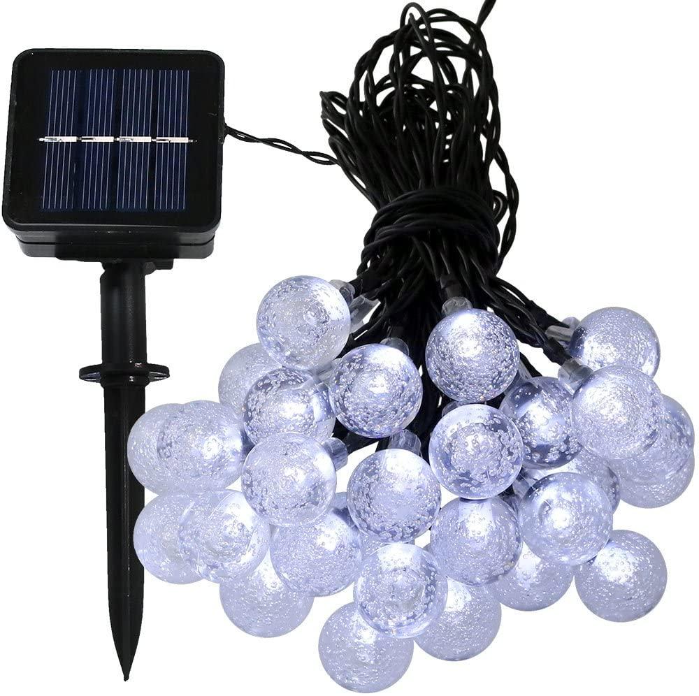Sunnydaze 20 Foot 30-Count LED Solar Powered String Lights Outdoor Globe, White