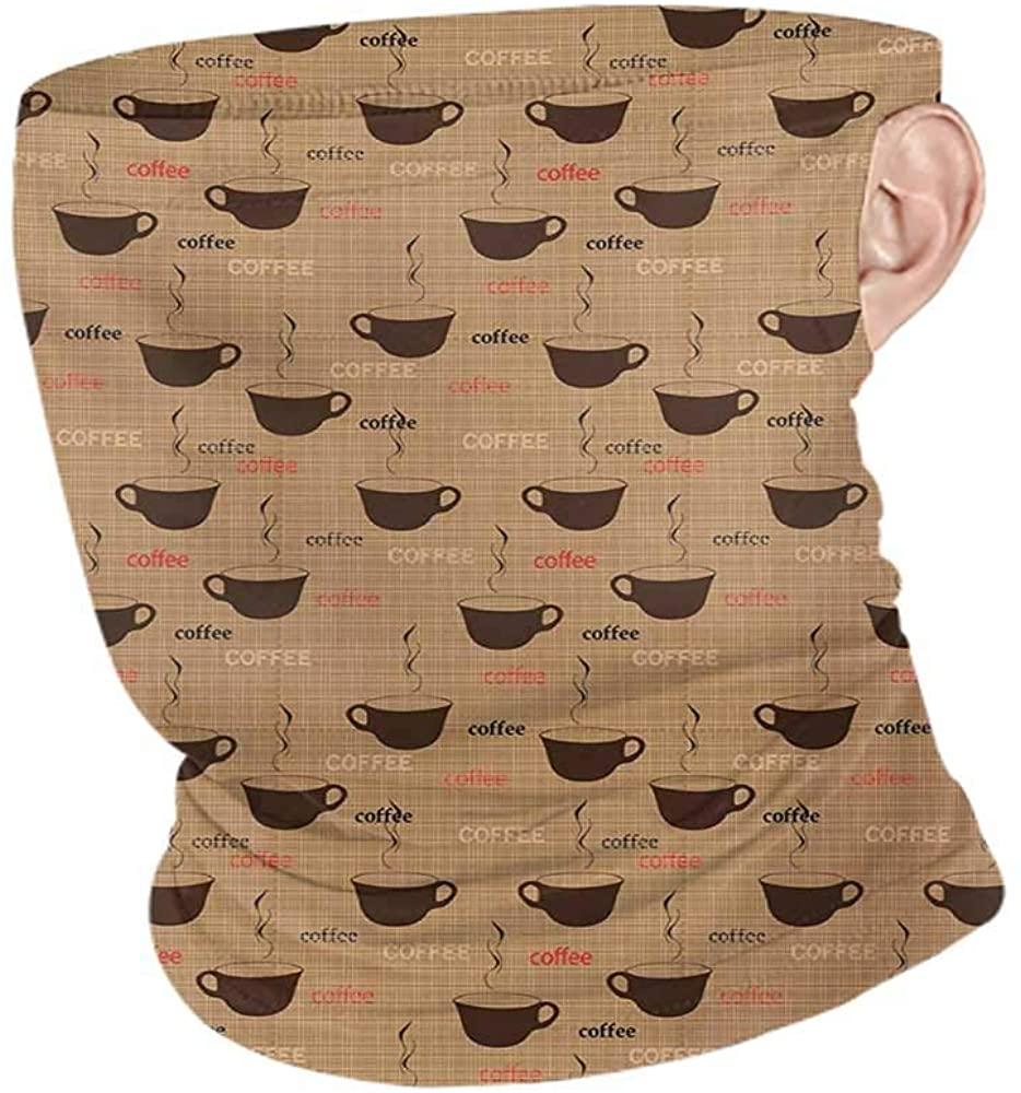 Face Bandana Cooling Coffee Coffee Cups in Earthen Tones Fresh Espresso Latte Drink Caffeine Image,Neck Gaiter Tube Headwear Bandana Chocolate Pale Brown 10 x 12 Inch