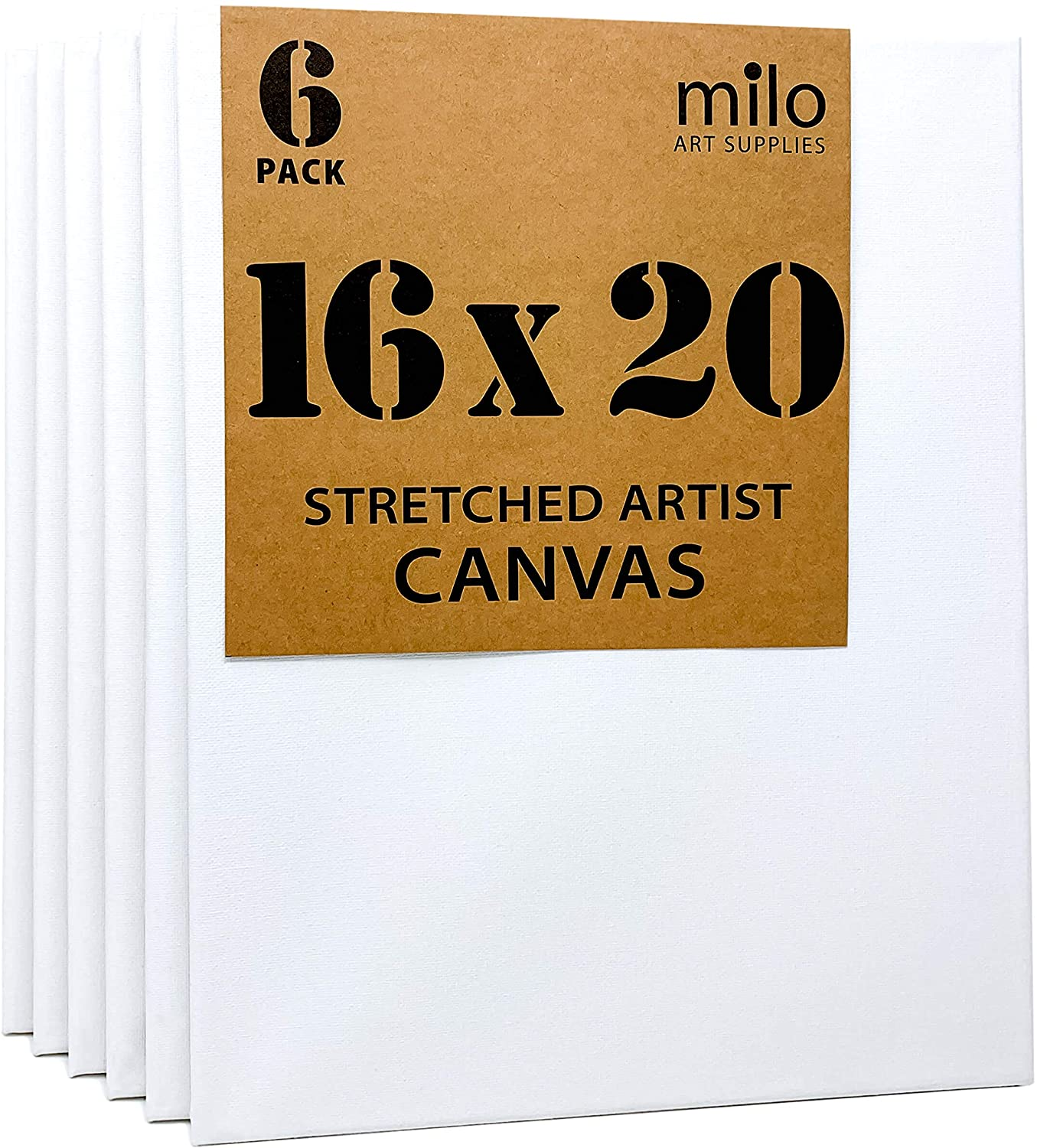 milo Stretched Artist Canvas | 16x20 inches | Value Pack of 6
