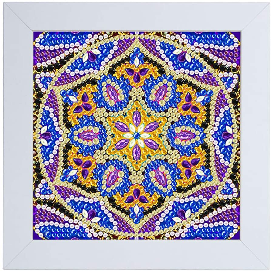lipiny Purple Flower 5D Diamond Painting Kit for Kids, with Wooden Frame