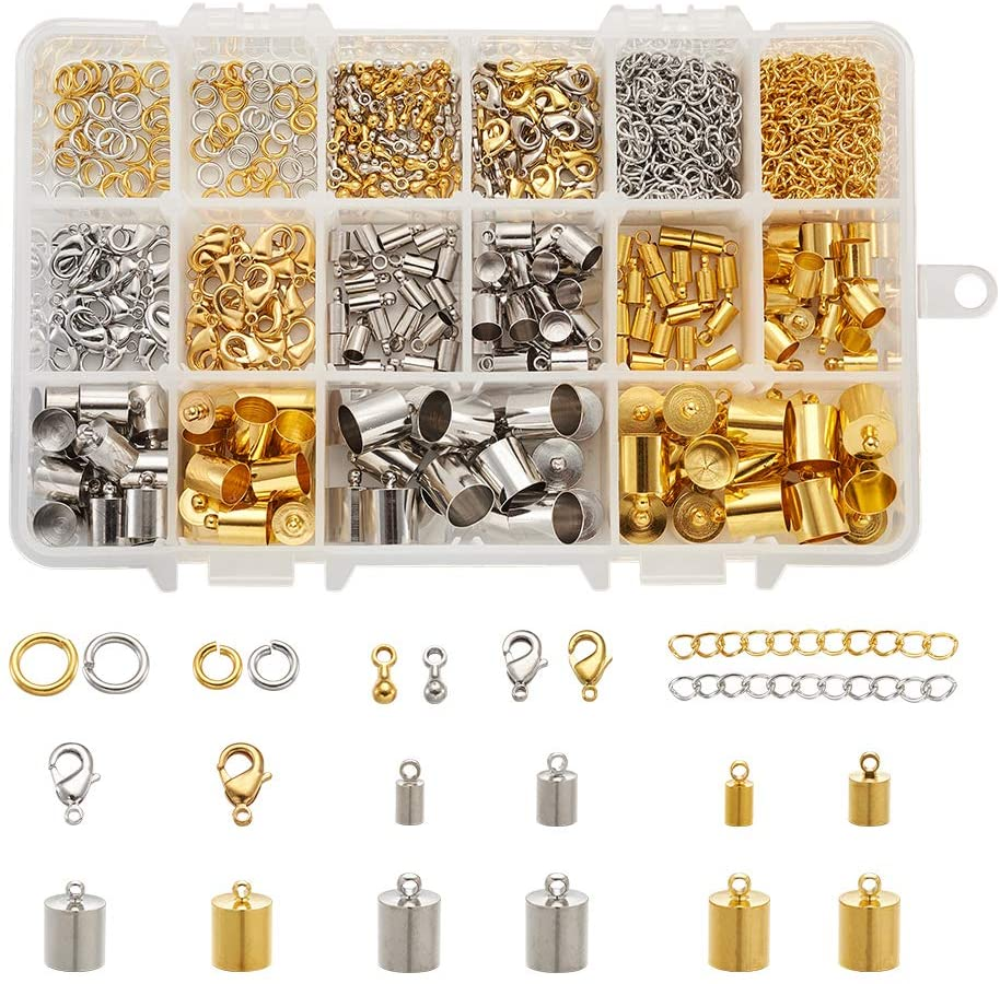 Beadthoven 480pcs 3 Sizes Brass Leather Cord Ends with Jump Rings Lobster Claw Clasp Extender Chain-Drops for Kumihimo Jewelry and Tassel Making