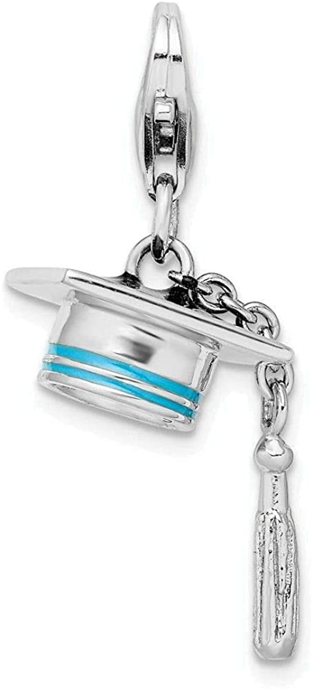 Amore LaVita Sterling Silver Rhodium-Plated Polished and Enamel Graduation Cap Charm