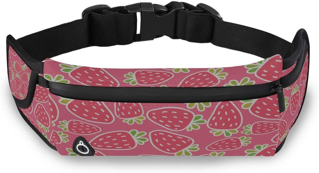 Delicious Fresh Strawberry Pink Decor Fashion Travel Bag Fanny Pack Bag Waist Mens Bag With Adjustable Strap For Workout Traveling Running