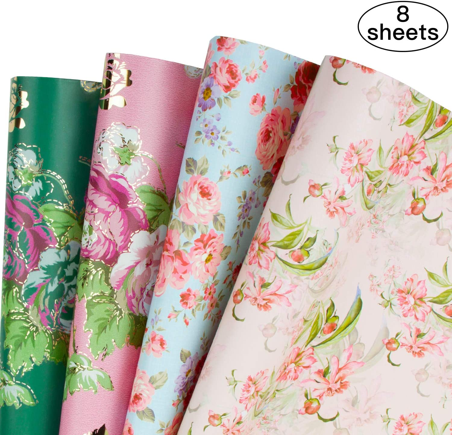 RUSPEPA Gift Wrapping Paper Sheets - Floral Design Perfect for Wedding,Birthday, Mothers Day, Congrats Gifts- 8 Folded Sheets-19.65 X27.5 Inch