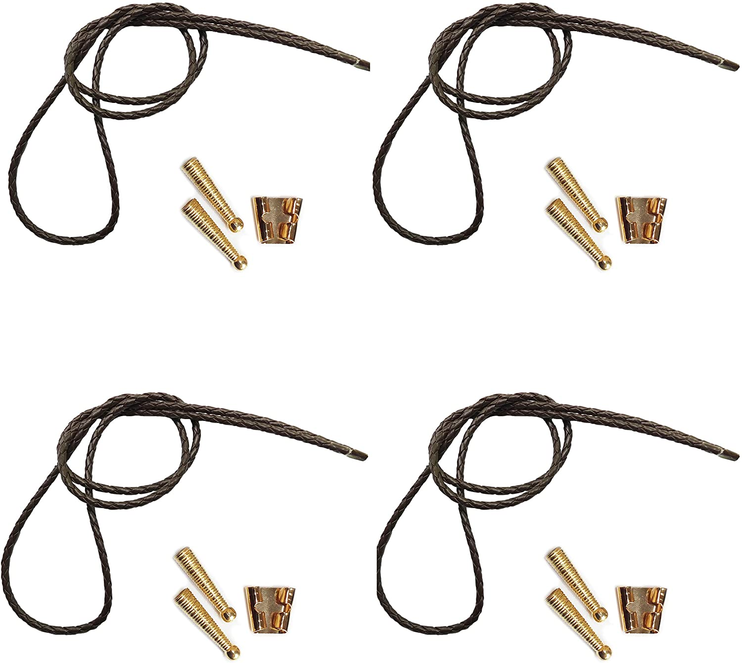 Blank Bolo String Tie Parts Kit Standard Slide Textured Tips Brown Vinyl Braid DIY Gold Tone Supplie