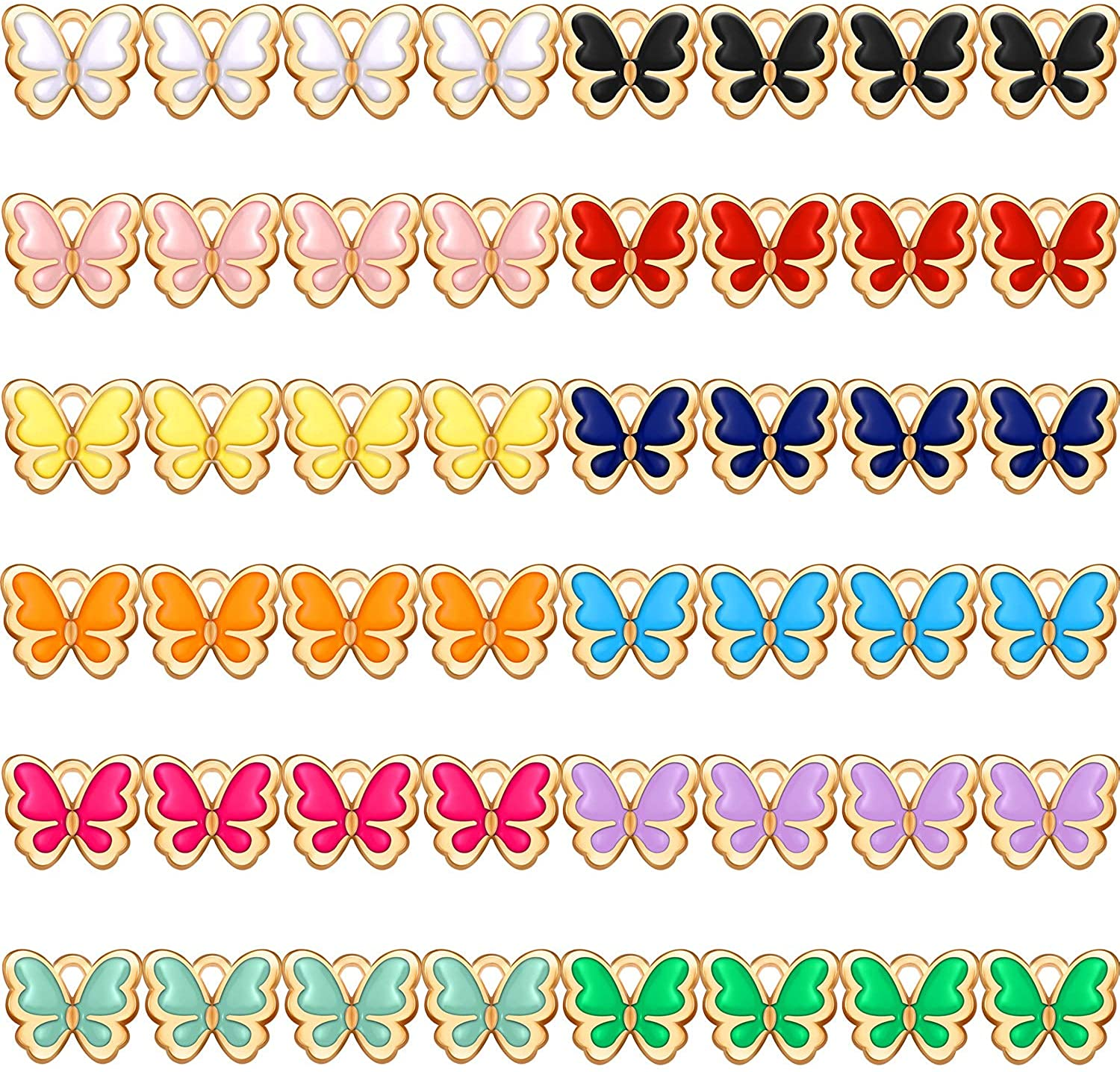 48 Pieces Enamel Butterfly Charms Colorful Butterfly Pendants Bracelet Pendant Charms for Jewelry Making DIY Bracelet Crafting Accessory