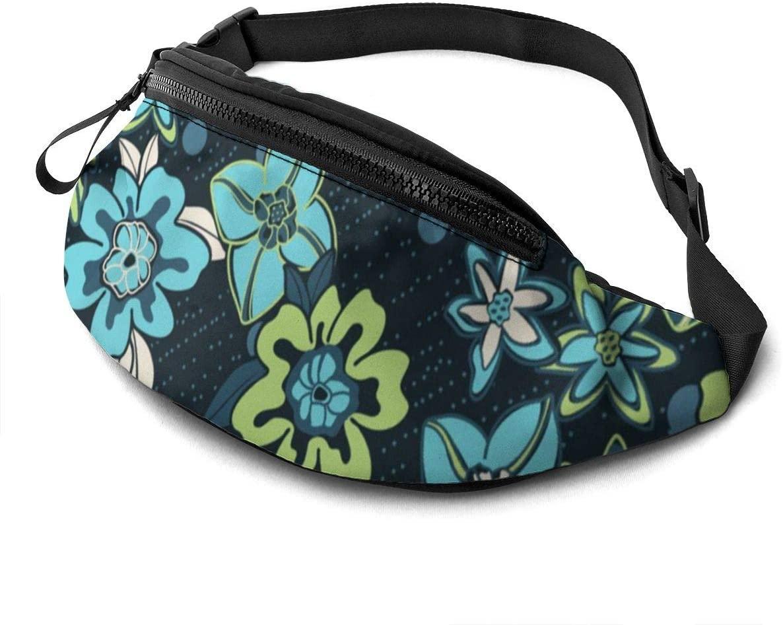 flower Fanny Pack for Men Women Waist Pack Bag with Headphone Jack and Zipper Pockets Adjustable Straps