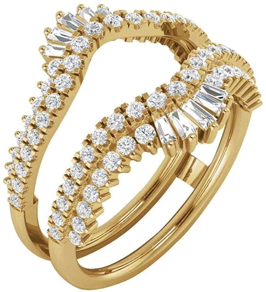 Bonyak Jewelry 14k Yellow Gold 1 CTW Diamond Ring Guard - Size 7