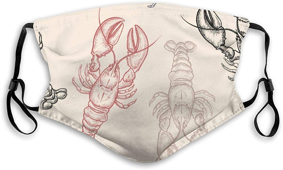 Colored Lobsters On Pastel Background Outdoor Face Dust Cover Can Be Washed And Reapplied
