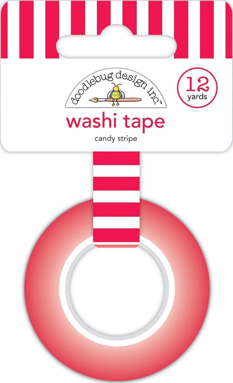 DOODLEBUG DESIGN INC. 6434 DOODLEBUG WASHI Tape STRI, Candy Stripe, Christmas Magic