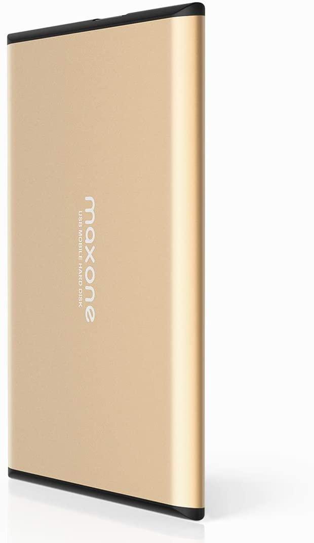 Maxone 500GB Ultra Slim Portable External Hard Drive HDD USB 3.0 for PC, Mac, Laptop, PS4, Xbox one - Gold