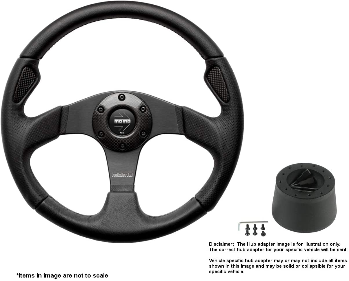 MOMO Jet 350mm (13.78 Inches) Leather Steering Wheel w/Brushed Black Anodized Spokes and Crowder's Hub Adapter for MG MGB Part # JET35BK0B + 5348