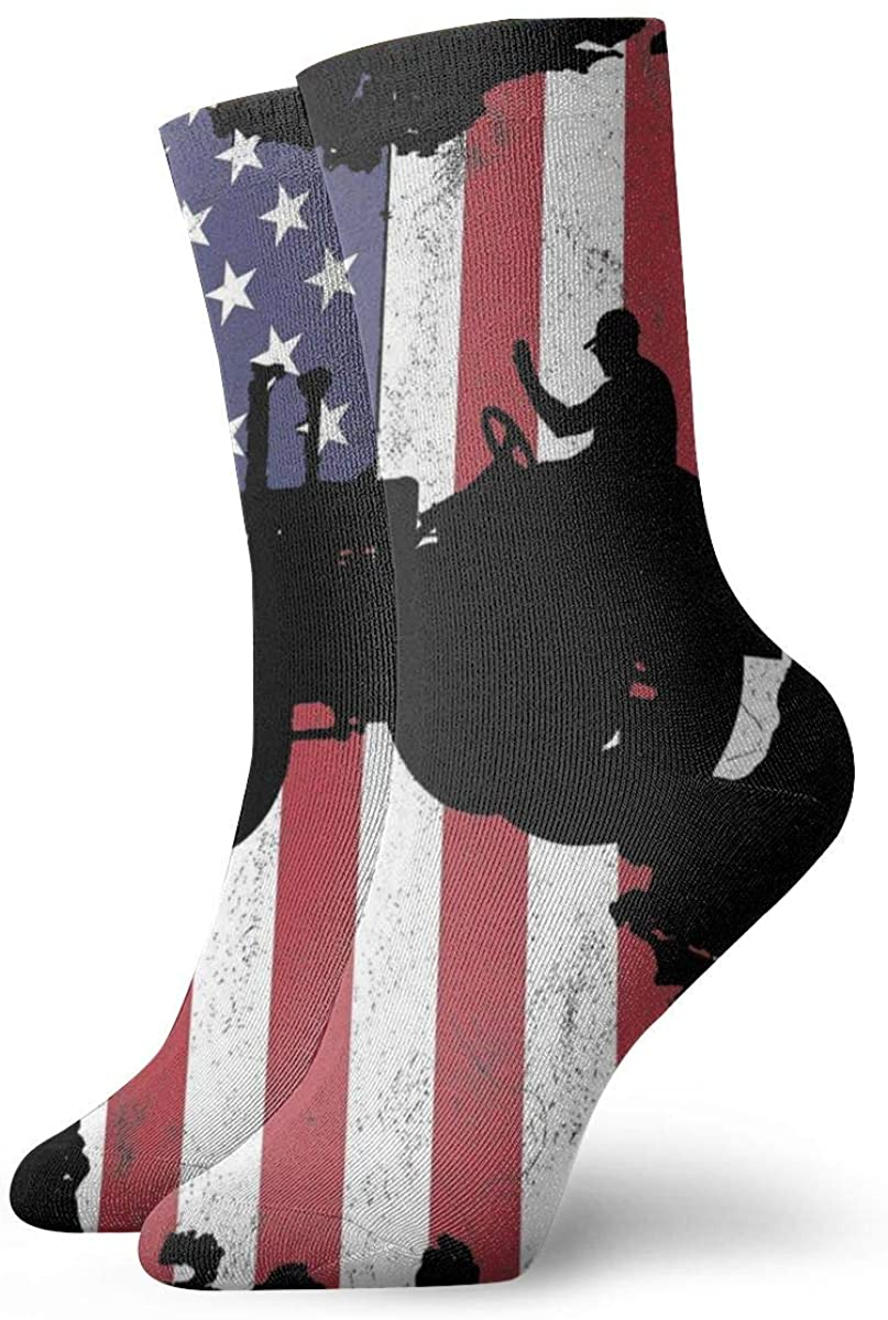 USA Flag Tractors Women's Casual Athletic Stockings Short Crew Socks