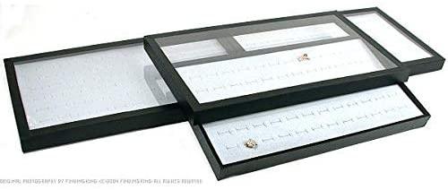 3 72 Slot Gray Ring Display & Acrylic Lid Travel Tray