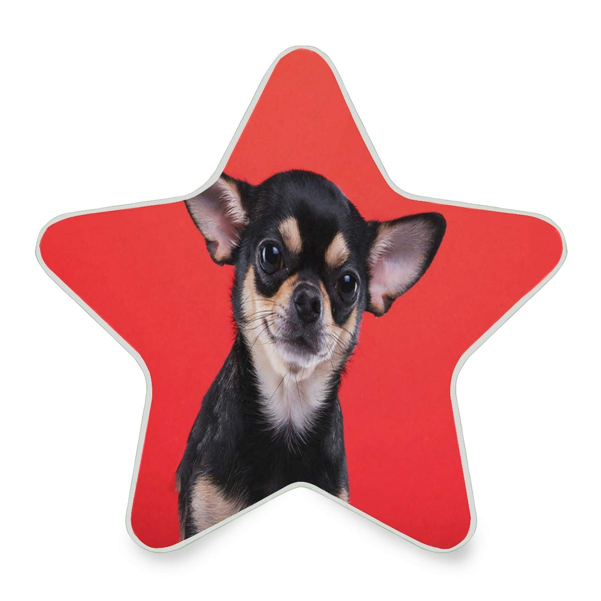 LED Night Light Cute Chihuahua Dog Funny Puppy Red Nightlight Decorative Star Pentagram Shaped Plug in for Kids Baby Girls Boys Adults Room