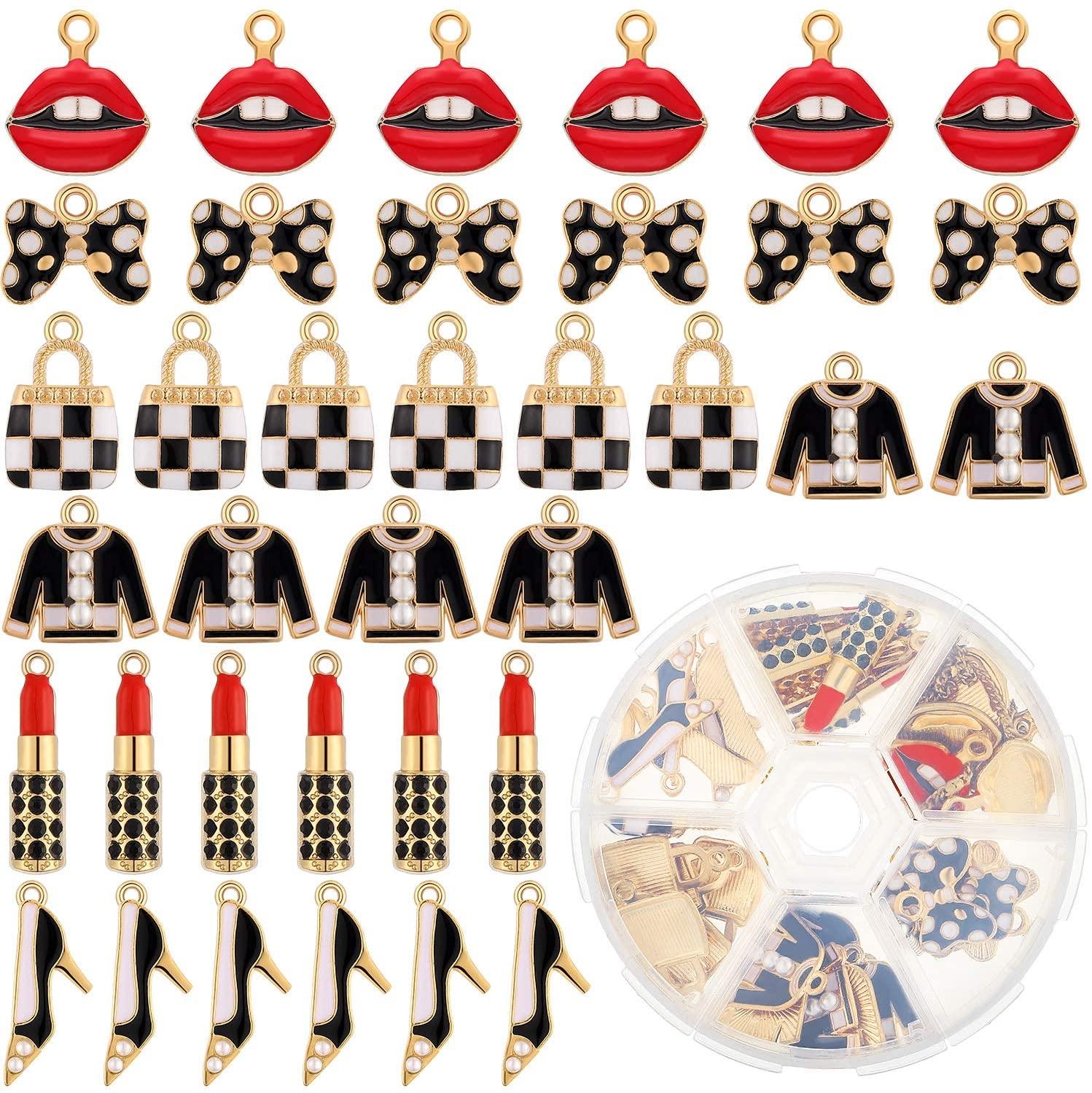 36 Pieces Mixed Makeup Charms Lip Lipstick Enamel Charms Women Purses Shoes Pendants DIY Enamel Pendants with Storage Box for Jewelry Making