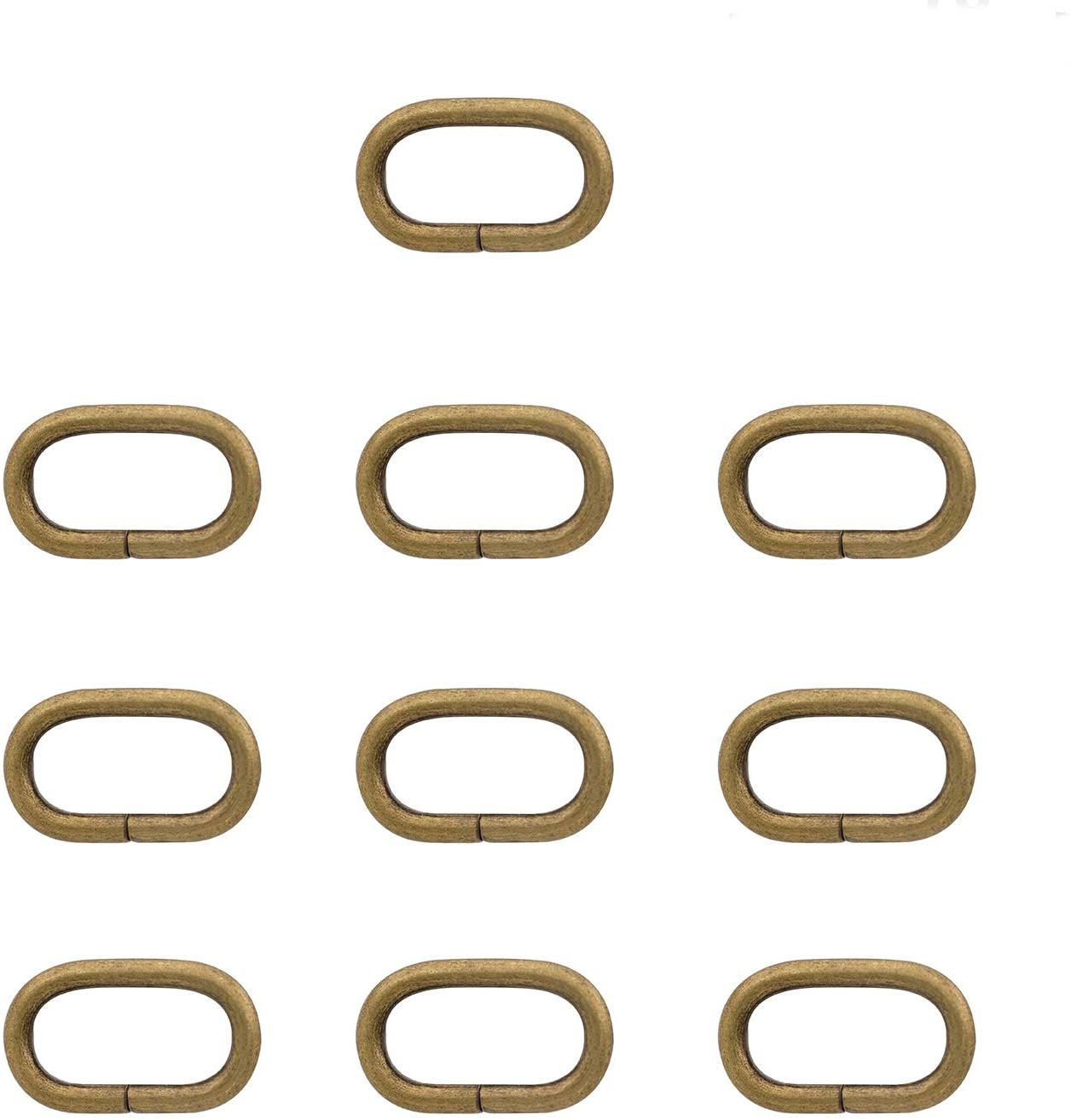 BIKICOCO 1'' Metal Oval Ring Oval Loops Non Welded for Leather Purse Bags, Handbag Straps, Bronze - Pack of 10