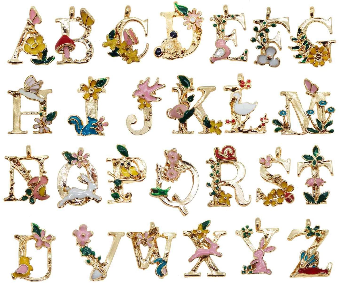 26 Initial Alphabet Letter Charms Pendants Garden Fairy Tale Princess Kids Children Style for Jewelry Craft DIY
