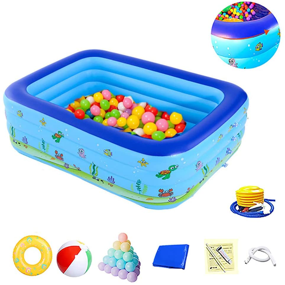 ZEIYUQI Kids Ocean Ball Pool Travel Anti-Slippery Foldable Inflatable Swimming Pool for Children with Pump Children's Day Gifts,Four Floors,2.1m
