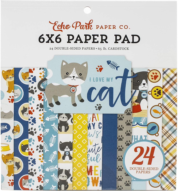 ECHO PARK PAPER COMPANY PAPER 6X6 PAD, I Love My Cat, 12 Designs/2 Each